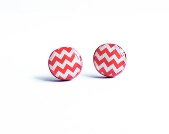 Zig zag earrings studs, chevron stud earrings, white red post earrings