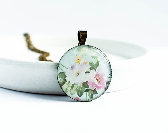 Peony necklace floral jewelry spring fashion peony flowers pendant