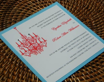 Chandelier Wedding Invitation with Chandelier and Crystals in Aqua and Apple Red