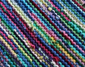Rainbow Rag Rug T Shirt Rug Retro Cottage Chic Lime Green Cerulean Blue Pink Upcycled Kitchen Laundry Rectangle 25x35 -US Shipping Included