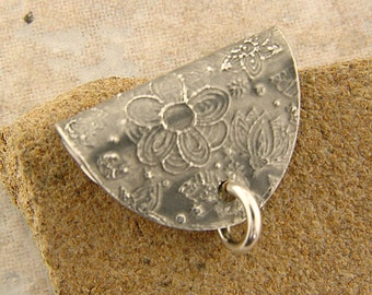 "Etched Pewter Pendant Bail, .875"" x .5"", Flower Power"