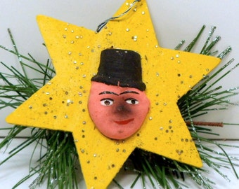 Christmas Paper Mache Star Ornament Germany Chimney Sweep Figure