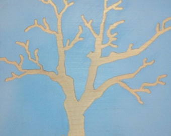 Blue Tree Wood Carved Wall Art