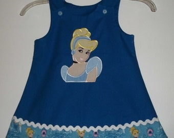 Toddler Girls A-line Jumper Dress-Made from a Cinderella print fabric-Cinderella Appliqued Dress-Sizes 12 months to 4T