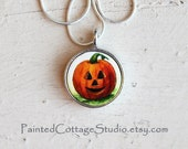 Halloween Necklace, Jack-o-Lantern, Pumpkin Jewelry, Hand Painted, Pendant, Fall, Autumn, Michelle Meyer