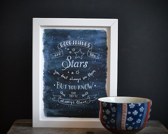Good Friends are like stars - Inspirational Typography print Navy blue / grey