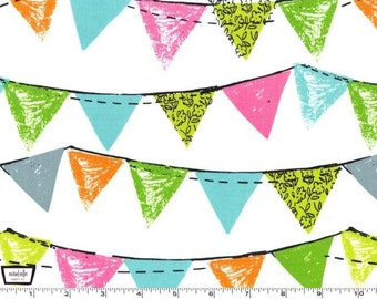 SALE - Party Bunting - Aqua Cotton Print Fabric from Michael Miller