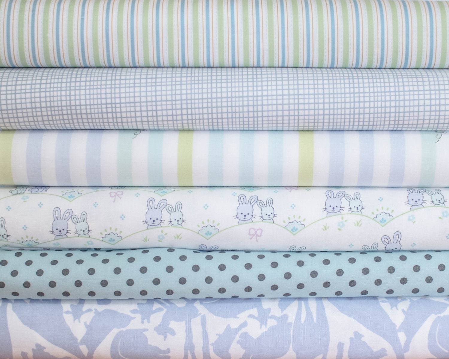 Nursery Boy Baby Blue Fabric Bundle Half Yard Bundle 6