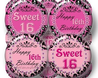 Sweet 16 Pink LEOPARD PRINT Bottle Cap Images Digital Collage Sheet Birthday Cupcake Toppers 1 Inch Circles