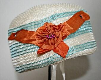Baby Bonnet, Antique Child's Hat, Nylon, Orange Ribbon