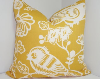 OUTDOOR Pillow Cover Yellow & Ivory Bird Pillow Cover Porch Decorative Pillow 18x18