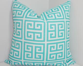 OUTDOOR Pillow Cover Aqua Blue & White Greek Key Design Deck Patio Pillow Cover 18x18