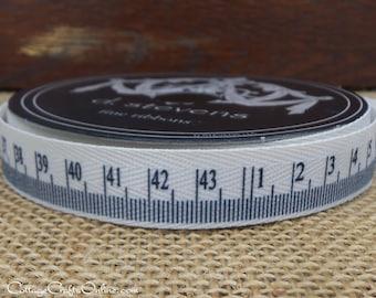 """SALE! Twill Ribbon, 5/8"""" wide, Measuring Tape Print - TEN YARD Roll - d. stevens, Twill Tape #82994 Scrapbook Craft Tape Measure Ribbon"""