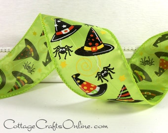 """Halloween Wired Ribbon, 2 1/2"""" Witch's Hat Citrus Green - THREE YARDS -  Witch, Spider Lime Green Decor, Craft Wire Edged Ribbon"""