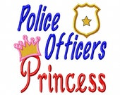Police Officers Princess - Badge Applique - Machine Embroidery Design -  8 sizes