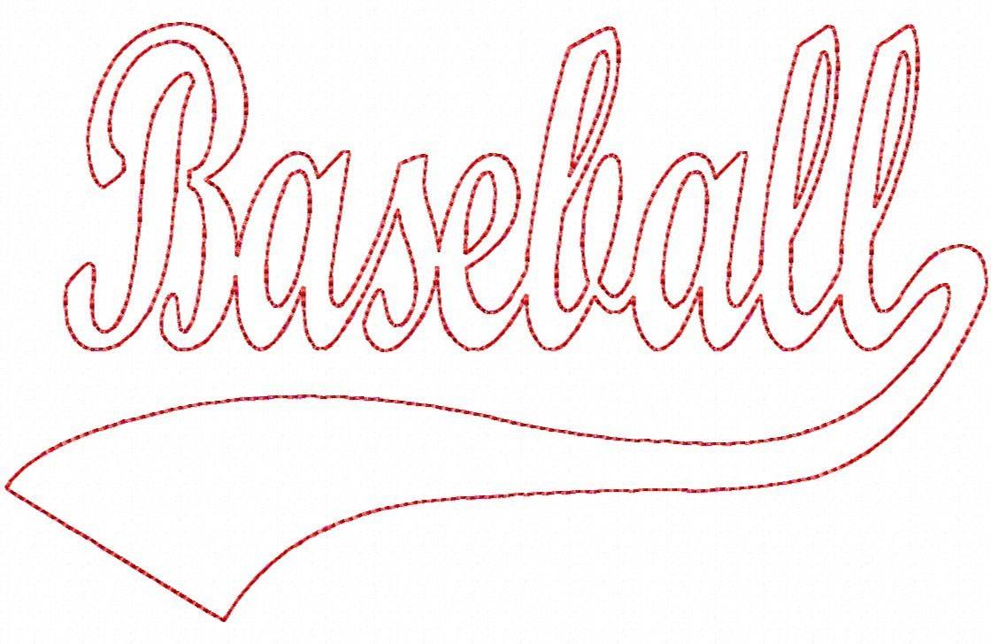 Baseball Swoosh REVERSE Applique Machine Embroidery 9