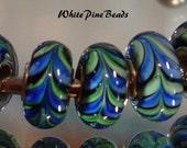 Royal Blue, Aqua Blue, Turquoise, and Black Swirls/Feathers MURANO GLASS BEADS fits European  Charm Bracelets WhitePineBeads