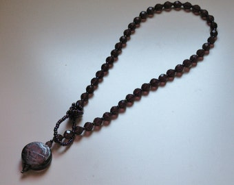 Purple Czech bead necklace