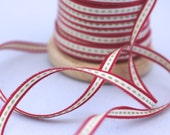 Woven Ribbon red white with green dots, 1 cm width, 2 Meters (2.18 yard)