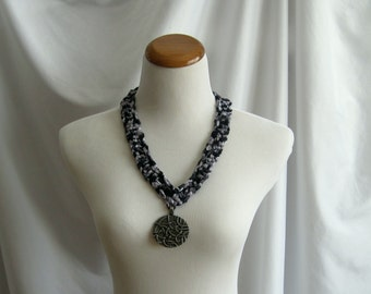 Black and Gray Crochet Necklace - Silver Tone Pendant Medallion