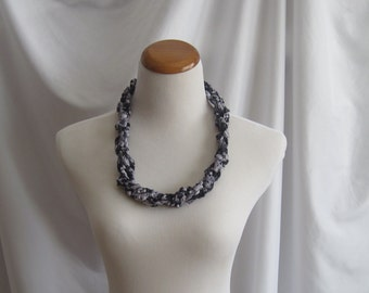 Crochet Necklace - Twisted Chain in Shades of Black and Gray