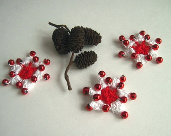 3 Crochet Beaded Flowers Mini - Red  and White with Red Plastic Beads - Set of 3