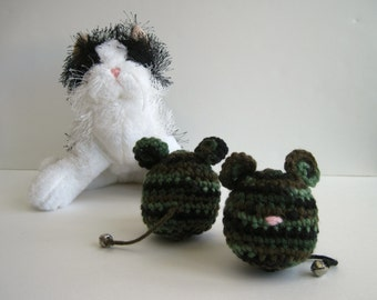Crochet Cat Mouse Toy:  Premium Catnip (Set of 2) In Green Camo