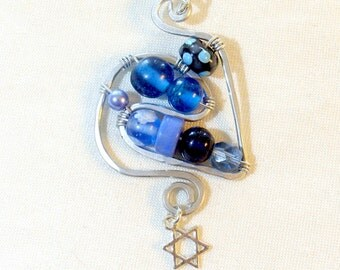 Wire Wrapped Star of David Pendant - 020