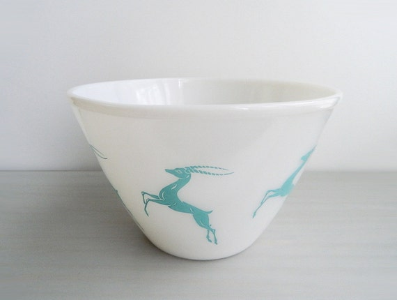 Vintage Fire King Gazelle Bowl Turquoise On White Glass Mid