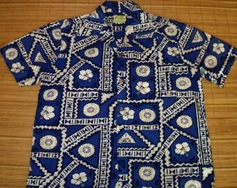 Mens Vintage 70s Ui-Maikai Tapa Hawaiian Aloha Shirt - XL -  The Hana Shirt Co