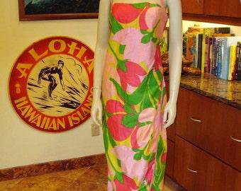 Ladies Vintage 60s Alfred Shaheen Sarong Halter Petal Hem Hawaiian Dress - M - The Hana Shirt Co