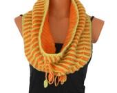 Hand knitted neckwarmer/:Circle scarf/Reversible Brioche Rib/Seamless