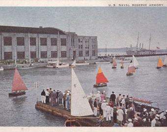 U.S. Naval Reserve Armory, Chicago, Illinois  - Vintage Postcard -Unused (K)