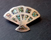 Vintage Mexican Pin Brooch Abalone and Sterling Silver Fan Signed