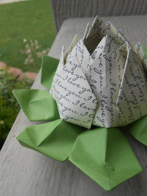I LOVE YOU Origami Lotus. Unique Mother's Day Gift - photo#49