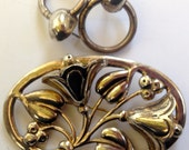 Vintage XL Sterling Silver Floral Brooch and Chunky Sterling Silver Complimenting Earrings - Art Nouveau Style