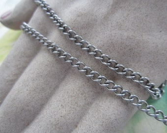 Vintage 4mm Stainless Steel Curb Chain 5 Feet