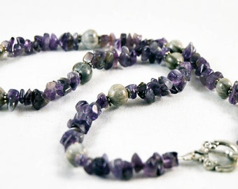 Natural Job's Tears with amethyst chips necklace