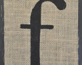 Burlap Letter f on Wood - 7x11