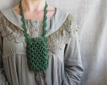 SALE Crochet phone case Green cell phone purse Boho chic Bohemian accessory Rustic Woodland