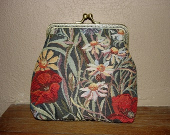 Floral Tapestry Cosmetic Bag - Cosmetic Case - Makeup Pouch - Kiss Lock Floral Tapestry Wallet - Jacquard Pouch with Metal Frame Clasp