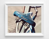"Bike Seat Photograph Unframed / retro bicycle vintage Schwinn urban city ride / teal aqua brown beige blue photography print / ""Let's Ride"""