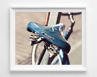 "Bike Seat Photograph Unframed / retro bicycle vintage Schwinn urban city ride / teal aqua brown beige blue photography print / ""Let's Ride"""