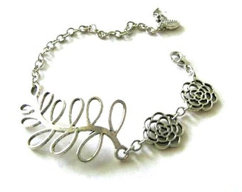 Leaf bracelet flowers jewelry antiqued silver simple bracelet