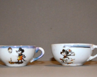 Mickey Mouse Vintage Miniature Teacups