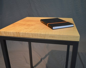 Curly maple wood and powder coated steel end table