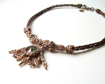 Celtic Princess Necklace - Beadwoven, Viking Knit, with Swarovski Crystal in Green, Gold, and Bronze