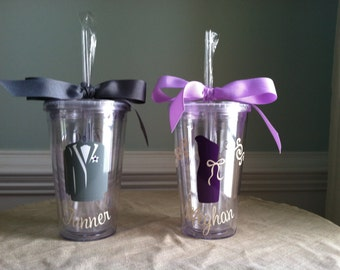 3 Flower Girl and/or Ring Bearer Acrylic Tumblers with Lid and Straw (BPA-free)