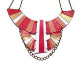 Red and coral Original painted leather statement necklace, Aztec necklace, Art Deco necklace, tribal necklace, boho necklace