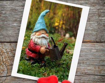 Garden Gnome Greeting Card, Gnome Note Card, Cute Gnome Card, Gnome Blank Card, Gnome Birthday, Blank Greeting Card, Garden Gnome